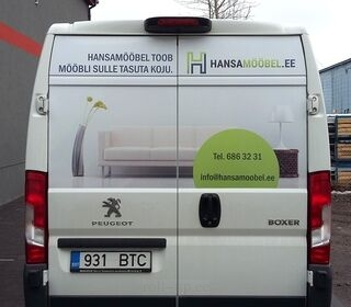Reklaamkleebised kaubiku tagaküljele - Hansamööbel.ee