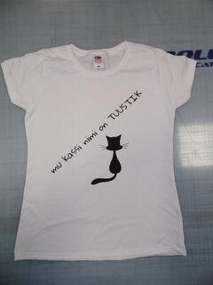 Trükitud särk kassi nimega