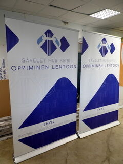Roll-upit 1200x2000 mm Suomen musiikinopetajien liitto