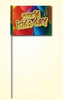 Paberist käsilipp 20x30cm ühevärvilise trükiga, plastikust varrega